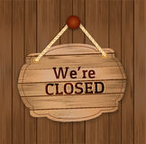 Vintage retro-styled wooden closed sign. Stock Image