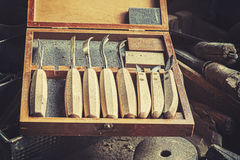Vintage retro stylized old carpenter tools Stock Photo