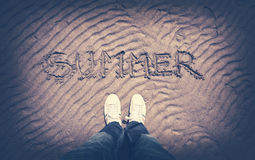 Vintage retro summer man point of view Stock Photography