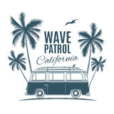 Vintage, retro surf van with palms and a gull Stock Image