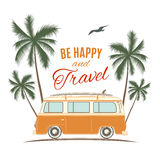 Vintage, retro surf van with palms, sun and a Stock Images