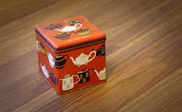 Vintage retro tea caddy box. Photo of an original vintage tea from ceylon caddy box showing various styles of teapots from around the world Stock Image