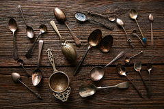 Vintage retro tea spoons and Strainers royalty free stock images