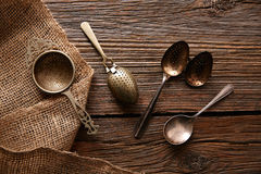 Vintage retro tea Strainers silver brass Royalty Free Stock Photography