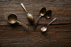 Vintage retro tea Strainers silver brass Stock Photography