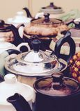 Selection of Vintage and Retro Teapots Royalty Free Stock Photography