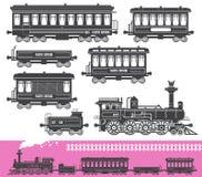Vintage retro train set vector illustration