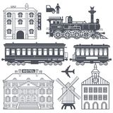 Vintage retro train travel set royalty free illustration