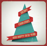 Vintage retro vector grunge Christmas tree vector illustration