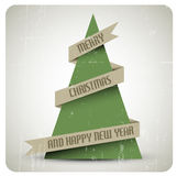 Vintage retro vector grunge Christmas tree Royalty Free Stock Photography