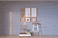 Vintage retro wall loft interior with decoration royalty free stock photography