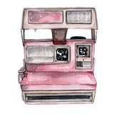 Vintage retro watercolor camera. Perfect for photography logo. Watercolor illustration stock illustration