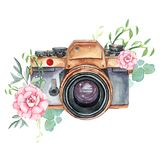 Vintage retro watercolor camera. Perfect for photography logo. Watercolor illustration royalty free illustration