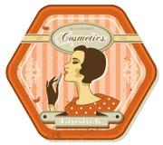 Vintage retro woman. Retro woman vintage cosmetics tin label Stock Photo