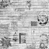 Vintage Retro Wood And Ephemera Background Collage Texture In Black And White Royalty Free Stock Images