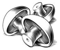 Vintage retro woodcut mushrooms stock illustration