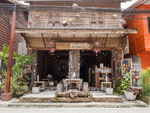Vintage retro wooden Guesthouse cafe at Chaing Khan. Stock Photo