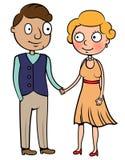 Vintage retro young couple. Cartoon vector illustration of vintage retro young couple in love, happy old couple young Royalty Free Stock Photos
