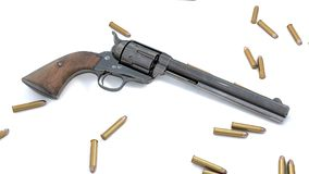 Vintage revolver background. 3D render Royalty Free Stock Photo