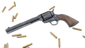 Vintage revolver isolated. 3D render Stock Photos