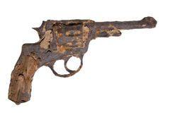 Vintage revolver rusted. Isolated gun world war two Royalty Free Stock Photos