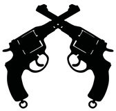 Vintage revolvers. Hand drawing of two black silhouettes of vintage military revolvers Royalty Free Stock Photo