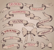 Vintage ribbon banners, hand drawn set Stock Photos