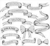 Vintage ribbon banners, hand drawn set Royalty Free Stock Photography
