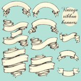 Vintage ribbon banners, hand drawn set Stock Photography