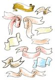Vintage ribbon banners, hand drawn set. Vector illustration. Stock Image