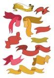 Vintage ribbon banners, hand drawn set. Vector illustration. vector illustration