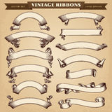 Vintage Ribbon Banners Vector Collection. Vintage Ribbon Banners Hand-drawn Vector Collection