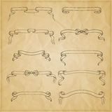 Vintage ribbon bow banners, hand drawn set Stock Photo