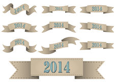2014 vintage ribbon. Illustration set of 2014 vintage brown ribbon Royalty Free Stock Image
