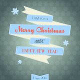 Vintage ribbon Merry Christmas card Royalty Free Stock Photo