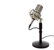 Vintage ribbon microphone on a white  background Royalty Free Stock Image