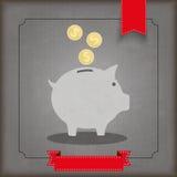 Vintage Ribbon Piggy Bank Coins Dollar Stock Photos