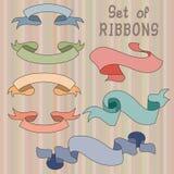 Vintage ribbon set on striped background. Colorful vintage ribbon set on striped background Stock Illustration