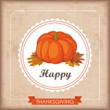 Vintage Ribbon Thanksgiving Foliage Emblem Pumpkin Royalty Free Stock Images