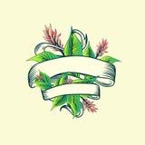 Vintage Ribbon Tropic Turmeric Floral Design. Vintage Ribbon With Copyspace Tropic Turmeric Floral Design Royalty Free Stock Photo