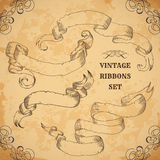 Vintage ribbons set. Vector illustration. Engraved decorative ornate frames. Victorian style. Place for text message.Retro hand dr Royalty Free Stock Photography