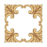 Vintage richly decorated frame in rococo style for menus, ads, a Royalty Free Stock Photography