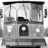 Vintage Ride. Trolly captured in Poughkeepsie, NY.  The trolly seemed a bit more vivid in black and white Royalty Free Stock Photos