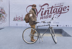 Vintage rider and bicycle Stock Image