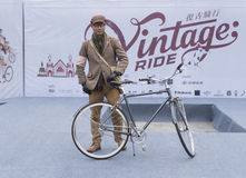 Vintage rider and bicycle Royalty Free Stock Photo