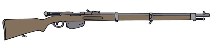 Vintage rifle. Hand drawing of a vintage military rifle Stock Images