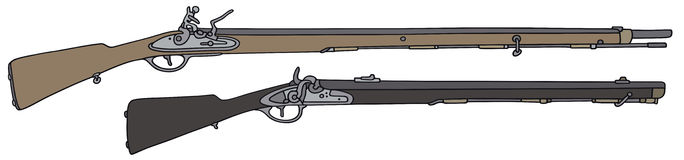 Vintage rifles. Hand drawing of two historical guns Royalty Free Stock Photo