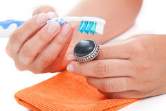 Vintage ring cleaning Royalty Free Stock Photography