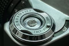 Vintage ring of ISO adjustment. Detail of the iso or asa regiment ring in an old vintage camera from the 70s Royalty Free Stock Photo
