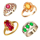 Vintage ring set with precious stones Royalty Free Stock Image